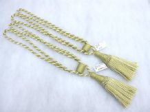 2 Coffee & cream curtain tassel tie backs Traditional rope & tassle tiebacks